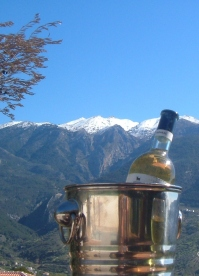 chilled wine and mountain